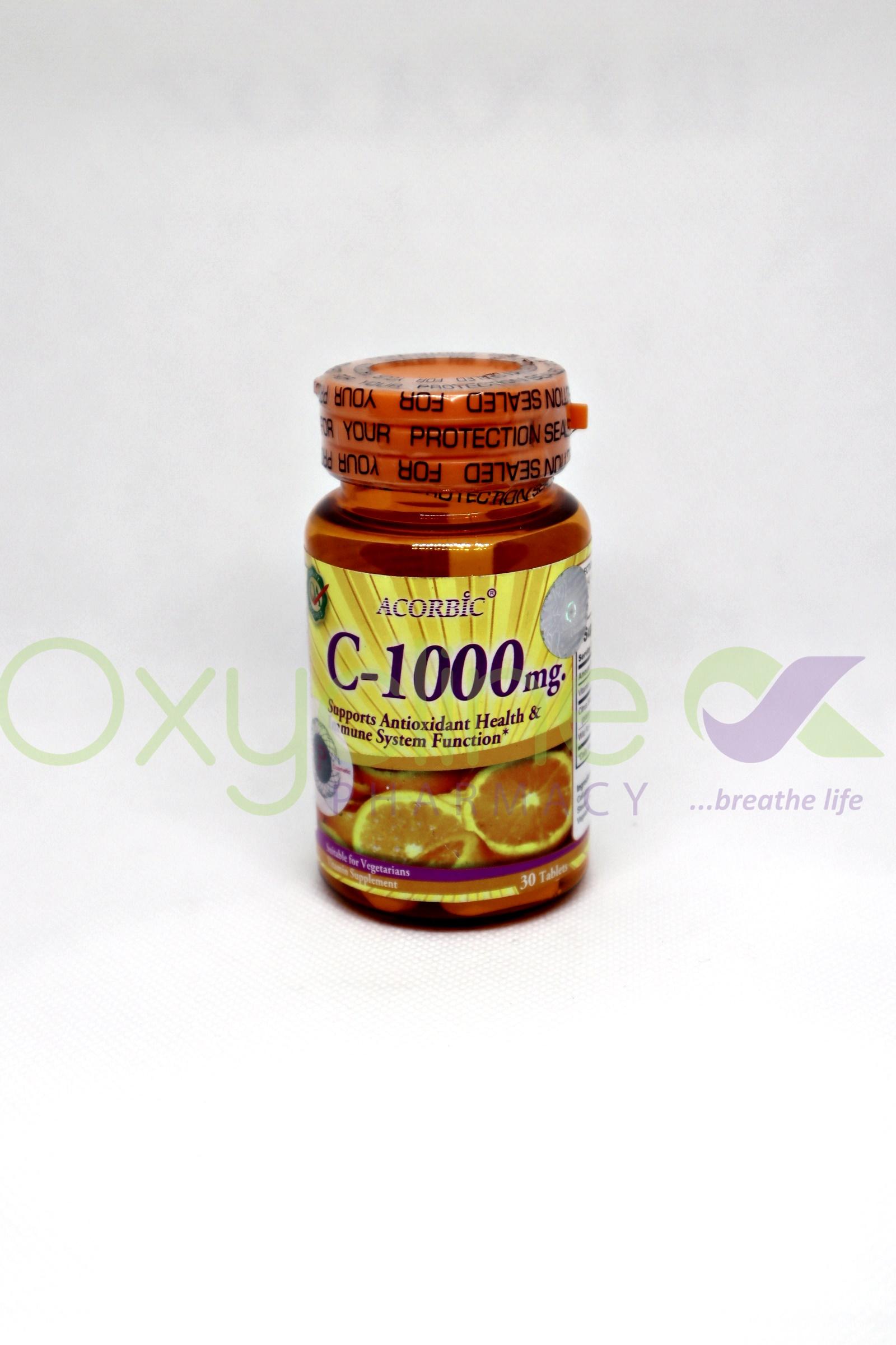 Acorbic Vitamin C 1000mg X30